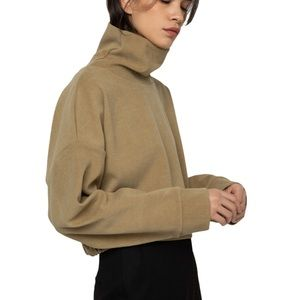 OAK & FORT NWT Cream Cropped Funnel Neck Sweater S